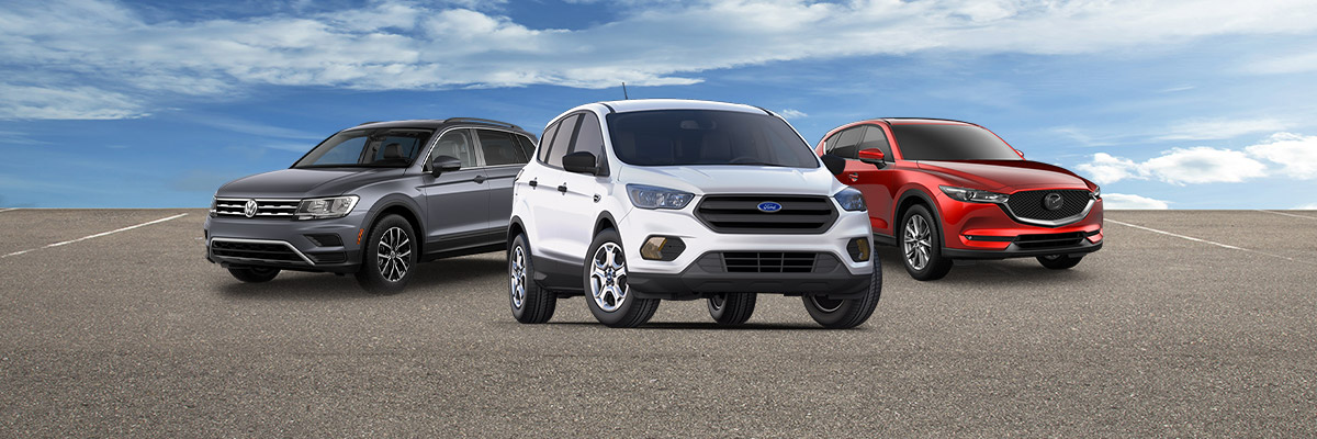 Used lineup of Ford Escape, Volkswagen Tiguan and Mazda CX-5