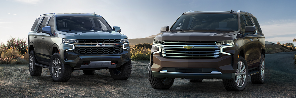 Left to right: 2021 Chevrolet and Suburban Tahoe