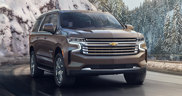 2021 Chevy Suburban driving through mountains